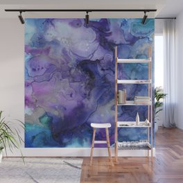 Abstract Watercolor, Ink Prints, Indigo, Blue, Purple Wall Mural