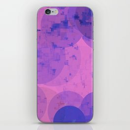 geometric circle and square pattern abstract in pink purple iPhone Skin