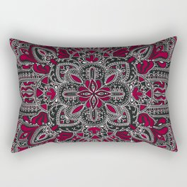 Red white mandala on black Rectangular Pillow