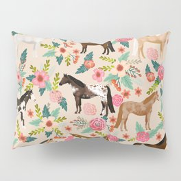 Horses floral horse breeds farm animal pets Pillow Sham