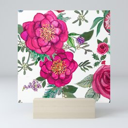 Protea, Pink Floral and berries Mini Art Print