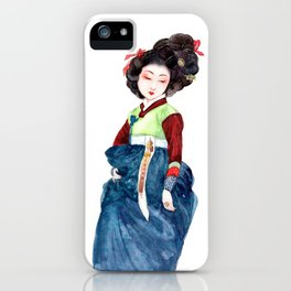 Watercolor Korean beauty - Dark Blue iPhone Case