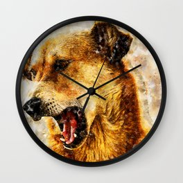 Indian Street Dog Yawning Wall Clock
