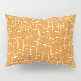 Retro Orange Lino Print Geometric Pattern Pillow Sham