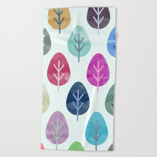 Watercolor Forest Pattern  Beach Towel