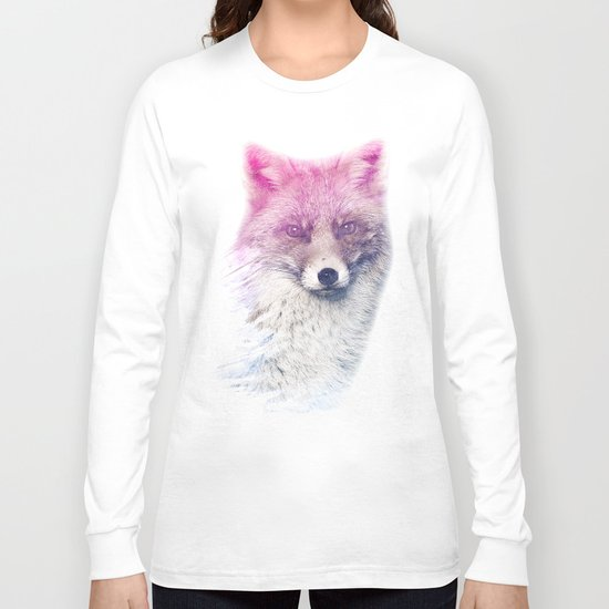 FOX SUPERIMPOSED WATERCOLOR Long Sleeve T-shirt