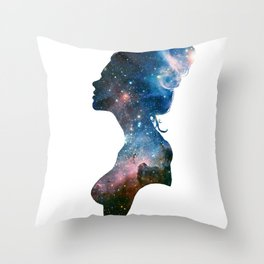 Galactic Girl Throw Pillow
