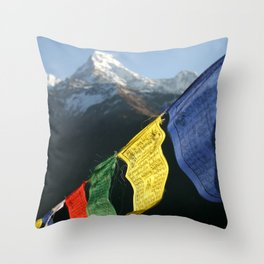 Buddhist prayer flags with mountain peaks Throw Pillow