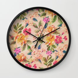 Golden Flitch (Digital Vintage Retro / Glitched Pastel Flowers - Floral design pattern) Wall Clock
