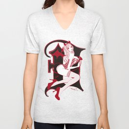 SHE-DEVIL DARK RED Unisex V-Neck