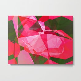 Pink Roses in Anzures 4 Abstract Polygons 2 Metal Print