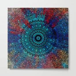 Bohemian Passion Blue & Red Mandala Design Metal Print