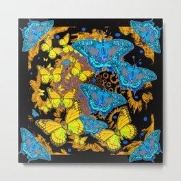 Oriental Style Blue & Gold Butterflies Nature Art Metal Print