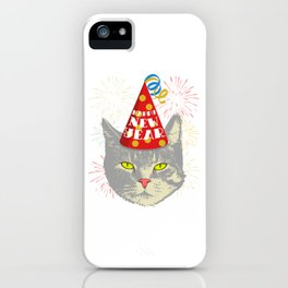 Meowy Christmas Cat Year Of The Rat Happy New Year 2020 January 1st Fireworks Resolution T-shirt iPhone Case
