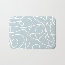 Doodle Line Art | White Lines on Silvery Blue Bath Mat