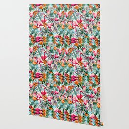 Floral and Flamingo VII pattern Wallpaper