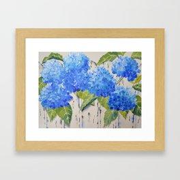 Picket Fence Hydrangeas Framed Art Print