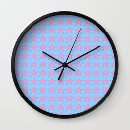 pink star-sky,light,rays,hope,pointed,mystical,estrella,nature,spangled,girly,gentle,star,sun Wall Clock