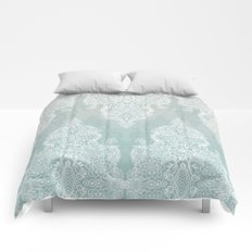 Lace & Shadows - soft sage grey & white Moroccan doodle Comforters