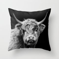 Highland Coo Black And White Throw Pillow
