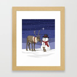 Santa's Reindeer Giving Snowman's Carrot Nose To Bunny Framed Art Print
