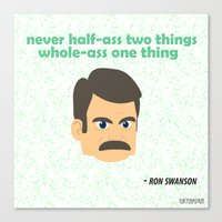 swanson Canvas Prints featuring Swanson by tukylampkin