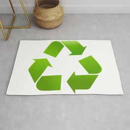 Green Recycle symbol on white background Rug