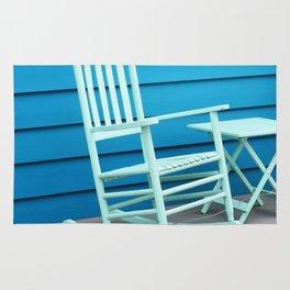 Coastal Beach House Art - Blue Rocking Chair - Sharon Cummings Rug
