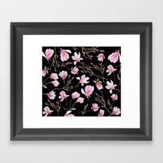 Magnolias Black Framed Art Print