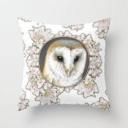 Barn owl small Throw Pillow