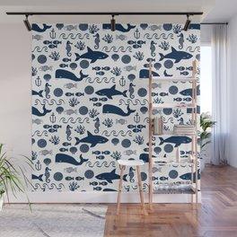 Sealife nautical navy and white modern trendy basic pattern print nursery pattern Wall Mural