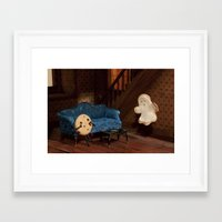 haunted mansion Framed Art Prints featuring Haunted Cookie Mansion by Cuddles and Rage