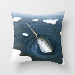 Bobbing Narwhal Throw Pillow