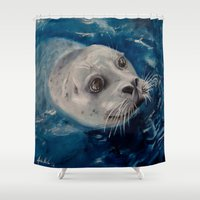 seal Shower Curtains featuring Seal by Andrea Vreken Art