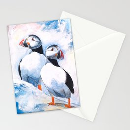 Puffins - I watch over you, little brother - by LiliFlore Stationery Cards