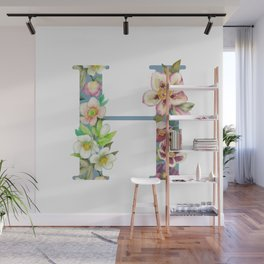 Floral Monogram Collection H Wall Mural