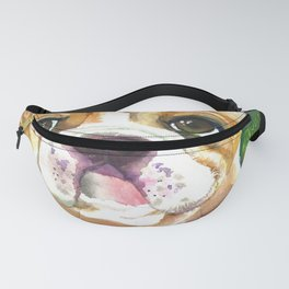 Boxer Puppy Watercolor Painting Fanny Pack