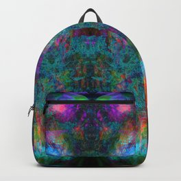 Butterfly Block Face (Cyan) (abstract, psychedelic, visionary) Backpack