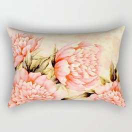 pink peonies on peach background Rectangular Pillow