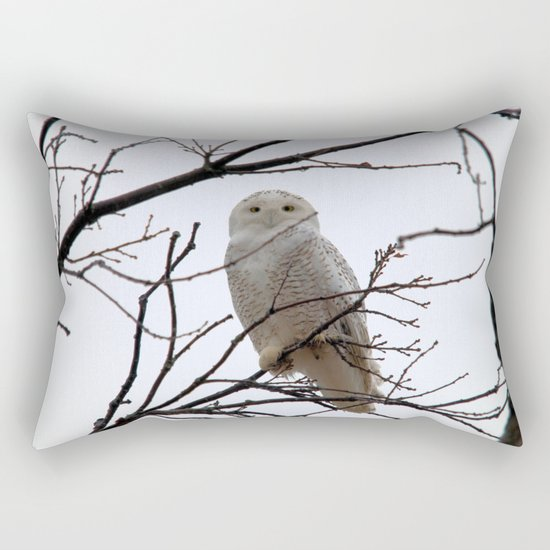 Snowy Owl in the Treetop Rectangular Pillow