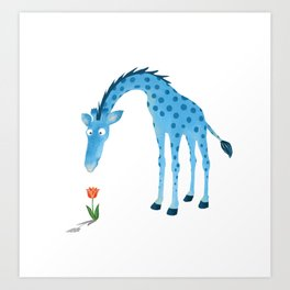Giraffe Sniffs Tulip Art Print