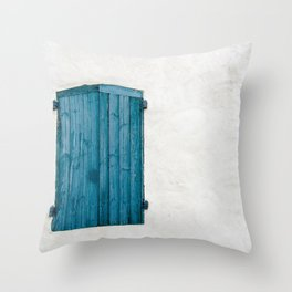 Old blue store Throw Pillow