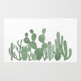 Green cactus garden on white Rug