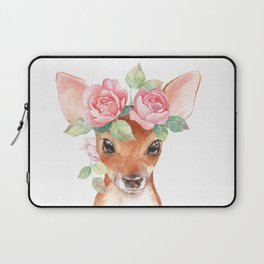 Watercolor Floral Fawn Laptop Sleeve