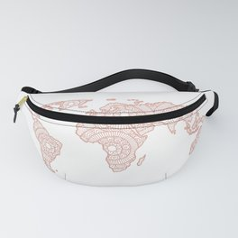 Rose Gold Mandala World Map Fanny Pack