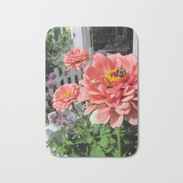 Bee Pollinating Flowers Bath Mat