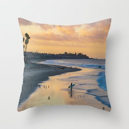 Sunrise Surfer in San Clemente Throw Pillow