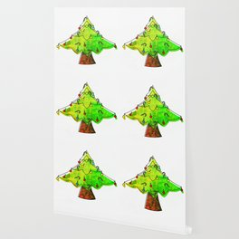 Watercolor Funky Chistmas Tree Wallpaper