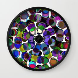Cluttered Circles III - Abstract, Geometric, Pastel Coloured, Circle Patterned Artwork Wall Clock