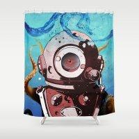 diver Shower Curtains featuring Diver by Tony Vazquez
